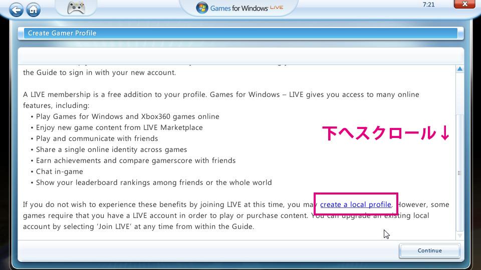 games for windows live のローカルプロフィール作成方法 mf2dlog